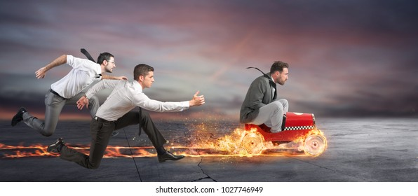 Fast businessman with a car wins against the competitors. Concept of success and competition