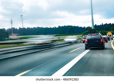 Fast car on highway