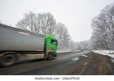 fast car with snowy road at  wintertime