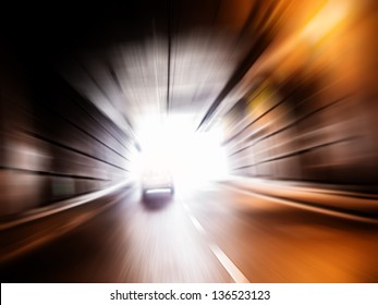 fast car in a tunnel