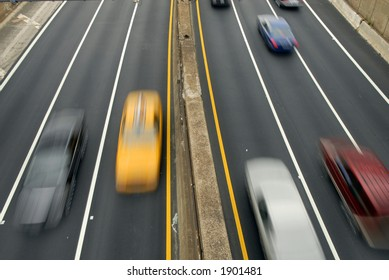 fast cars on the highway