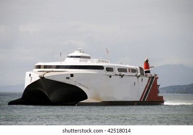 the fast catamaran ferry boat between trinidad and tobago on the gulf of paria