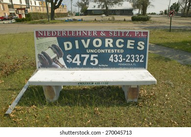 Fast Cheap Divorce for $475 on bench advertisement in Pensacola Florida