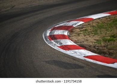 Fast corner in the race circuit.