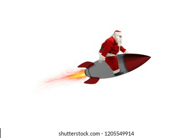 Fast delivery of Christmas gifts. Santa Claus ready to fly with a rocket isolated on white background