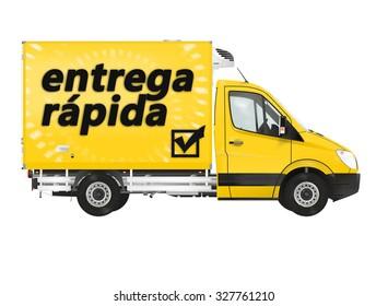 Fast delivery in Spanish (Entrega rapida) .Van on the white background. Raster illustration.