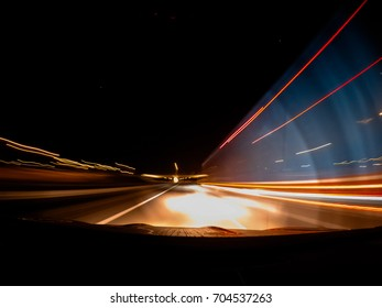 Fast driving on the car at night.