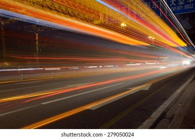 fast driving traffic at night