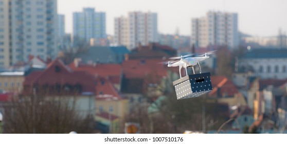Fast Drone Delivery - Concept of modern fast delivery method by using drones and other aerial crafts for avoiding traffic