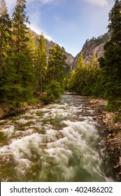 Fast flowing river at sunset in Yosemite National Park.