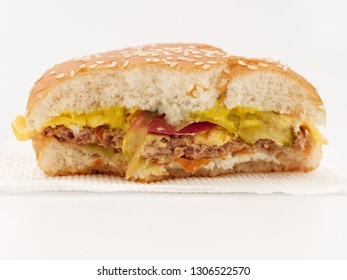 fast food bitten burger on white background