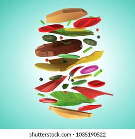 Fast food burger components background concept from cardboard on paper background. Cartoon food product packaging and delivery. 3D model render