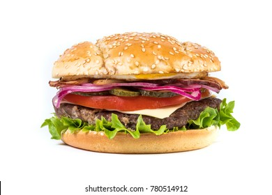 Fast food Burger with salad isolated against white