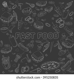 Fast food chalk seamless design raster line art. Hand drawn doodle design elements.