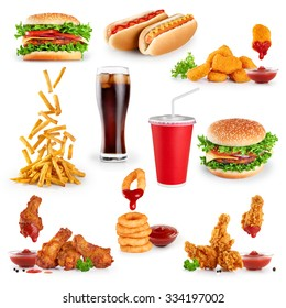 Fast food collection on white background.