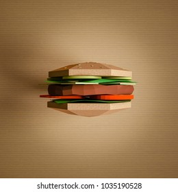 Fast food concept. Burrger from cardboard on yellow background. Cartoon food product packaging. 3D model render