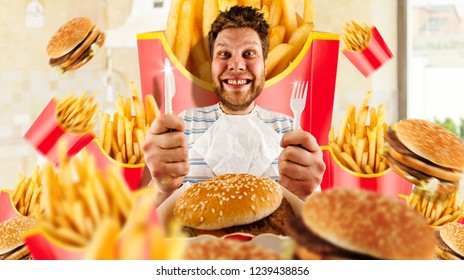 Fast food concept, man and burgers with fries