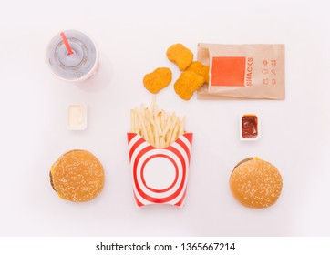 Fast food dish on the white background. Fast food set fried chicken and french fries. Take away fast food.