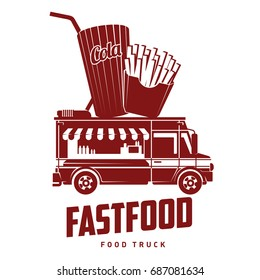 Fast food foodtruck logo illustration. Badges and labels design concept for american fast food. Cola and french fries. Two colors logo templates for your design. Isolated on a white background