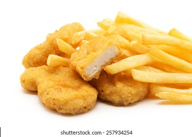 Fast food. French fries with nuggets. Unhealthy eating