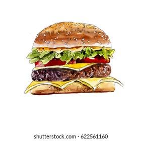 Fast food. Hamburger. Watercolor hand drawn illustration.