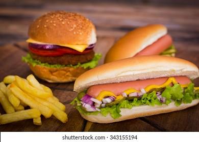 Fast food - Hot dog, hamburger and French fries