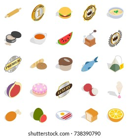Fast food icons set. Isometric set of 25 fast food  icons for web isolated on white background