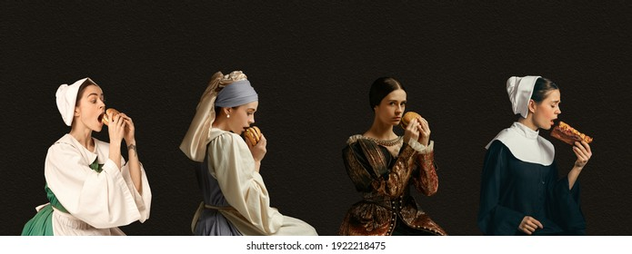Fast food. Medieval women as a royalty persons from famous artworks in vintage clothing on dark background. Concept of comparison of eras, modernity and renaissance, baroque style. Creative collage.