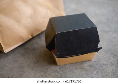 Fast food paper box on concrete background