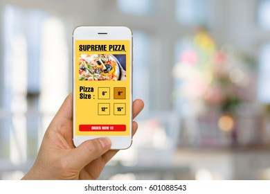 Fast Food, Pizza, Ordering Concept Illustrated by Smartphone App in Online Mobility Era
