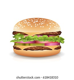 Fast Food Realistic Burger. Hamburger Fast Food Sandwich Emblem Realistic Isolated On White Background Illustration