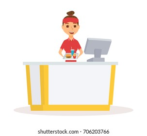 Fast food restaurant worker with cash register and burger, french fries and drinks on tray. Employee cashier at mall court. Women serving meals. Happy waitress girl in uniform
