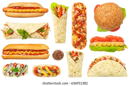 Fast Food Set Isolated on White Background. Contain hot dog, tortilla, pizza baguette, bruschetta with fish, hamburger, meatball