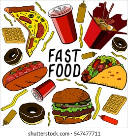 Fast food set on a white background.