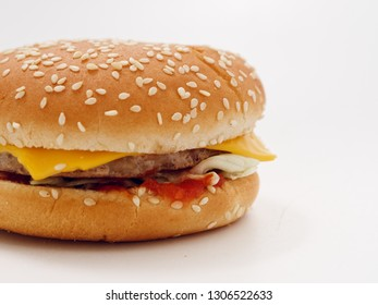fast food small burger on white background