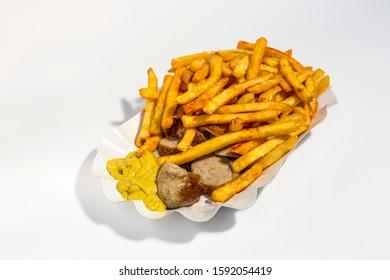 fast food. street food. German wurst and fries.