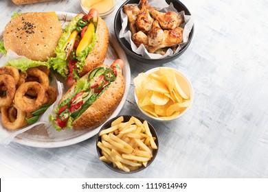 Fast food. Street and Takeaway food. Top view.