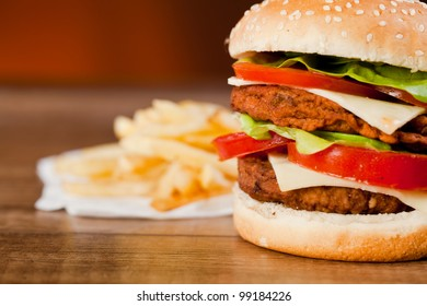 Fast food tasty hamburger and franch fries
