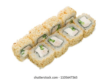 Fast food.Asian cuisine. Japanese food. Sushi rolls on a white background
