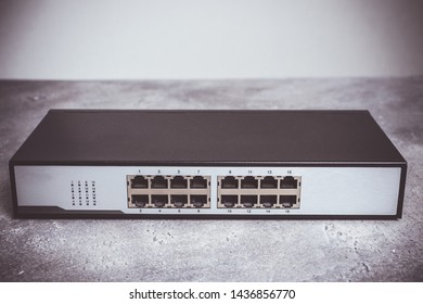 Fast Gigabit Ethernet Switch 16 Port on Dark Background