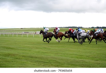Fast horse race in Kildare, Ireland