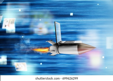 Fast internet concept with a laptop over a rocket