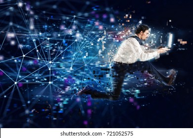 Fast internet connection concept with running businessman