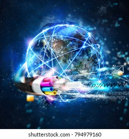 Fast internet worldwide connection with the optical fiber