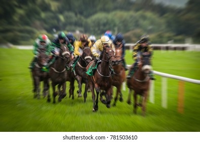 Fast motion horse racing speed