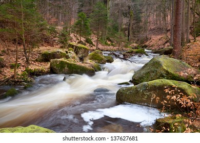 fast mountain river in forest, Harz, Germany