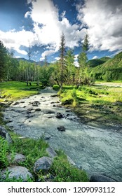Fast mountain river. Headwaters mountain river. The Tumnin River is the largest river on the eastern slope of the Sikhote-Alin Range.