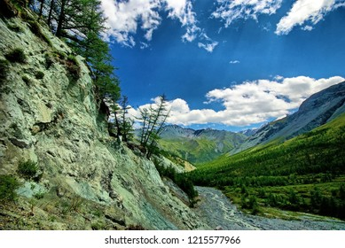 Fast mountain river. Headwaters mountain river. The Tumnin River is the largest river on the eastern slope of the Sikhote-Alin Range. Far East.