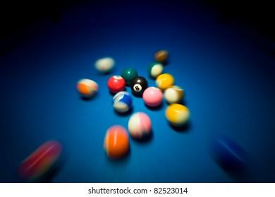 Fast moving billiard balls on blue