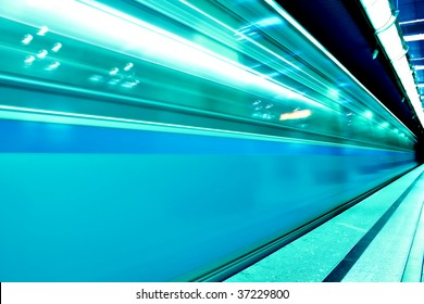 fast moving train in motion